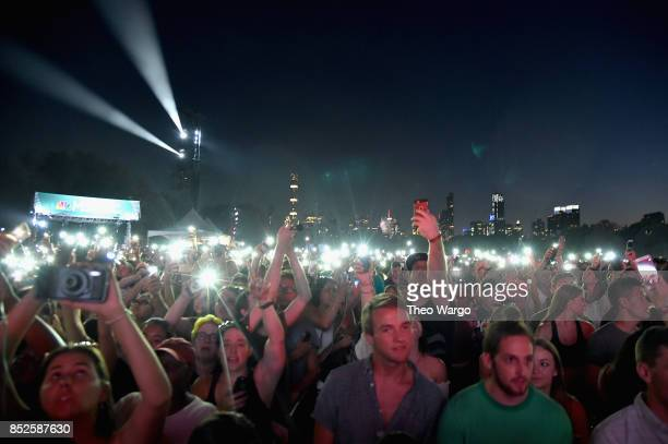 Festivalgoers attend the 2017 Global Citizen Festival For Freedom For Justice For All in Central Park on September 23 2017 in New York City