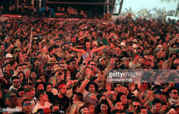 Festivalgoers attend the 2018 Coachella Valley Music and Arts Festival Weekend 1 at the Empire Polo Field on April 15, 2018 in Indio, California.