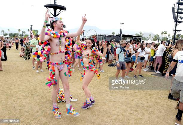 Festivalgoers attend the 2018 Coachella Valley Music and Arts Festival Weekend 1 at the Empire Polo Field on April 15 2018 in Indio California