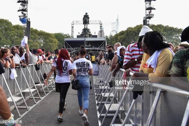 Festivalgoers attend the 2018 Made In America Festival - Day 2 at Benjamin Franklin Parkway on September 2, 2018 in Philadelphia, Pennsylvania.
