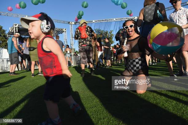 Festivalgoers attend the Kim Ann Foxman performance in The Break Room during day 1 of Grandoozy on September 14 2018 in Denver Colorado