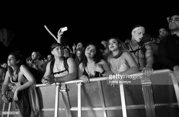 Festivalgoers attend the Mojave Tent during day 2 of the Coachella Valley Music And Arts Festival at the Empire Polo Club on April 15 2017 in Indio...