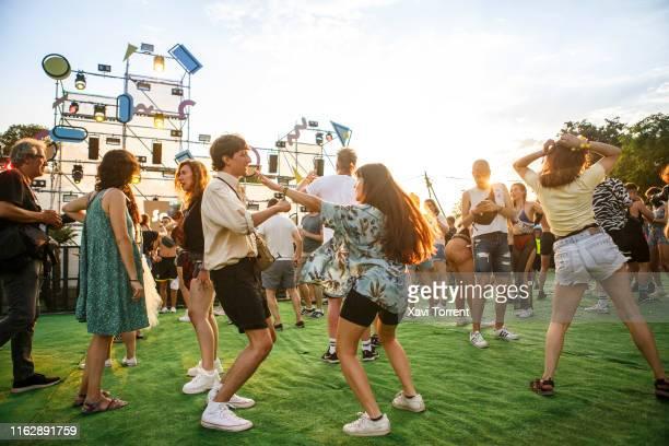 Festival-goers attend to Festival Internacional de Benicassim on July 18, 2019 in Benicassim, Spain.
