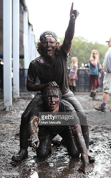 Festivalgoers bathe in mud on day 3 of the 2013 Splendour In The Grass Festival on July 28 2013 in Byron Bay Australia