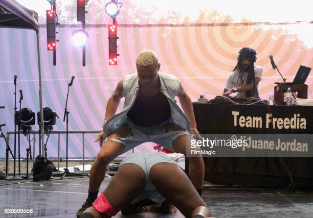 Festivalgoers bounce during Beignets Bounce on the Gastro Magic Stage during the 2017 Outside Lands Music And Arts Festival at Golden Gate Park on...