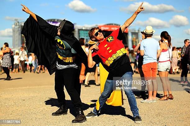 Festivalgoers dressed as Batman and Robin pose at the Groovin The Moo Festival on May 7 2011 in Maitland Australia