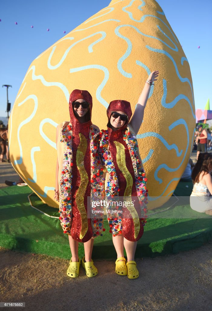Festivalgoers dressed as sparkly hot dogs attend day 2 of the 2017 Coachella Valley Music & Arts Festival (Weekend 2) at the Empire Polo Club on April 22, 2017 in Indio, California.