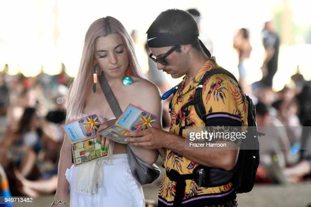 Festivalgoers during the 2018 Coachella Valley Music And Arts Festival at the Empire Polo Field on April 21 2018 in Indio California