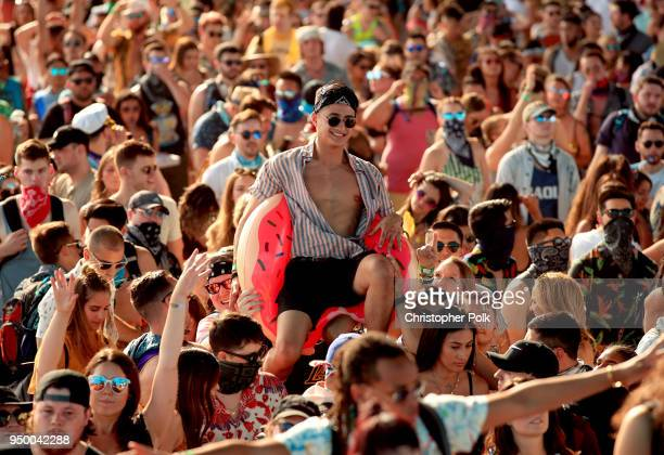 Festivalgoers during the 2018 Coachella Valley Music And Arts Festival at the Empire Polo Field on April 21, 2018 in Indio, California.