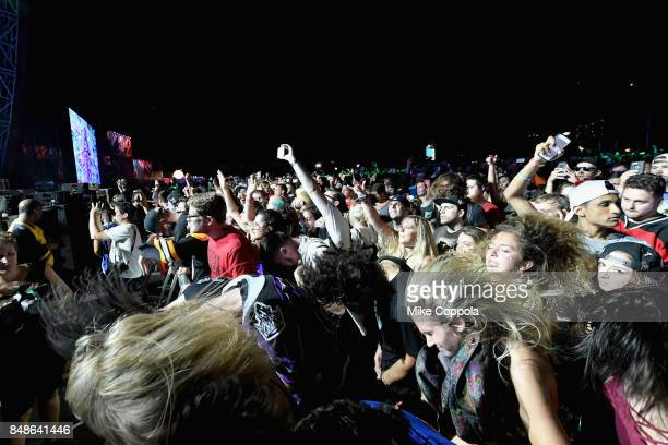 Festivalgoers enjoy Bassnectar as he performs onstage during the Meadows Music and Arts Festival Day 3 at Citi Field on September 17 2017 in New York...