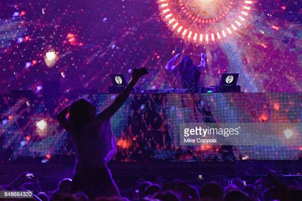Festivalgoers enjoy Bassnectar onstage during the Meadows Music and Arts Festival Day 3 at Citi Field on September 17 2017 in New York City