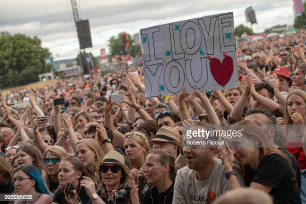 Festivalgoers enjoy CHVRCHESÕs concert on the fifth day of the TRNSMT music Festival at Glasgow Green on July 8 2018 in Glasgow Scotland
