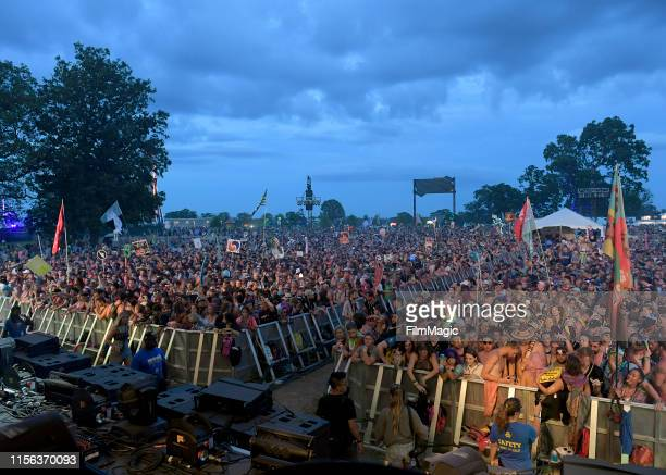 Festivalgoers enjoy ILLENIUM performing onstage at The Other Tent during the 2019 Bonnaroo Arts And Music Festival on June 16, 2019 in Manchester,...