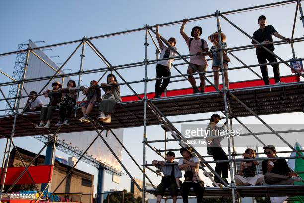 Festivalgoers look on from a viewing platform on day one of the Maho Rasop Festival 2019 on November 16 2019 in Bangkok Thailand