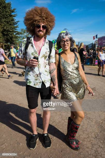Festivalgoers on day 1 of the Glastonbury Festival 2017 at Worthy Farm Pilton on June 22 2017 in Glastonbury England