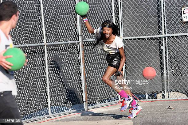 Festivalgoers play dodgeball during the 2011 Rockbeach festival on July 9 2011 in the Brooklyn borough of New York City