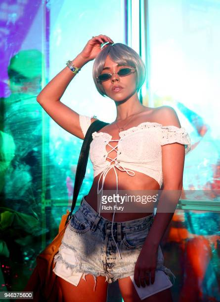 Festivalgoers pose during 2018 Coachella Valley Music And Arts Festival Weekend 1 at the Empire Polo Field on April 14 2018 in Indio California