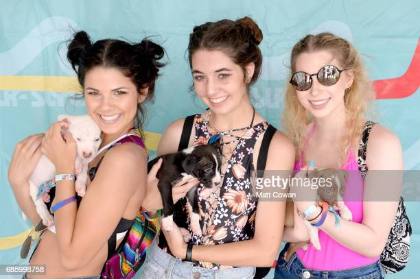 Festivalgoers pose with puppies in the Smooch a Pooch booth during 2017 Hangout Music Festival on May 20 2017 in Gulf Shores Alabama