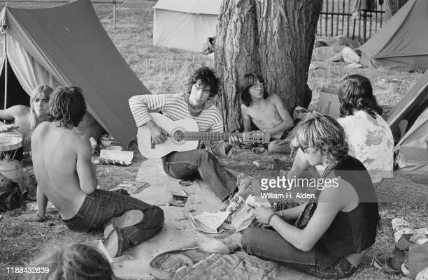 Festival-goers relaxing at the campsite of Reading Festival a day before the official start, Richfield Avenue, Reading, UK, 26th August 1976.