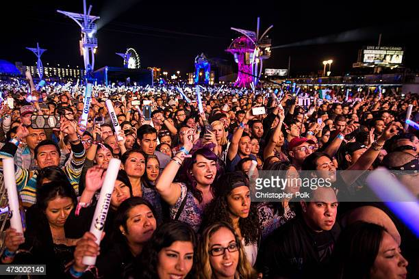 Festivalgoers rock out during Rock in Rio USA at the MGM Resorts Festival Grounds on May 8 2015 in Las Vegas Nevada