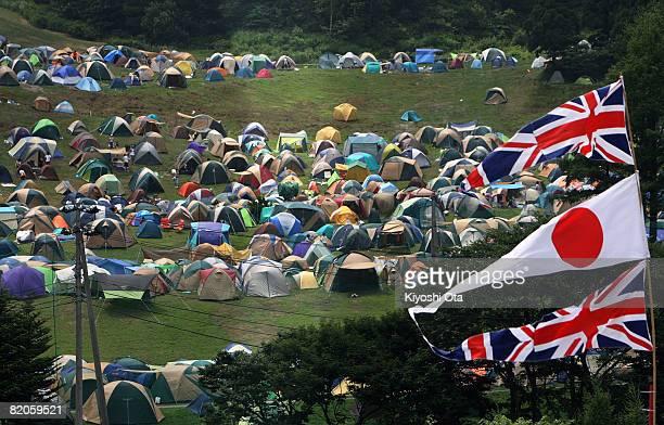 Festivalgoers tents fill the camp site during Fuji Rock Festival at Naeba Ski Resort on July 25 2008 in Yuzawa Niigata Japan