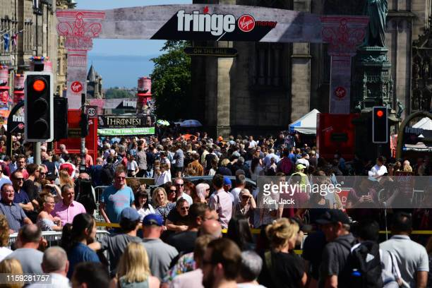 Festivalgoers throng the Royal Mile as the Edinburgh Festival Fringe gets under way on August 3 2019 in Edinburgh Scotland Billed as the biggest arts...
