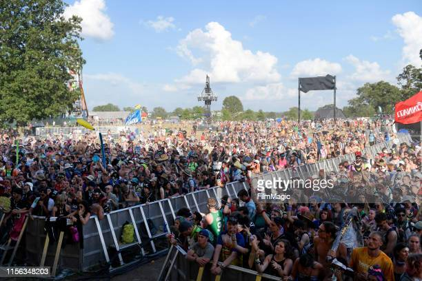 Festivalgoers watch AC Slater perform onstage at The Other Tent during the 2019 Bonnaroo Arts And Music Festival on June 16, 2019 in Manchester,...