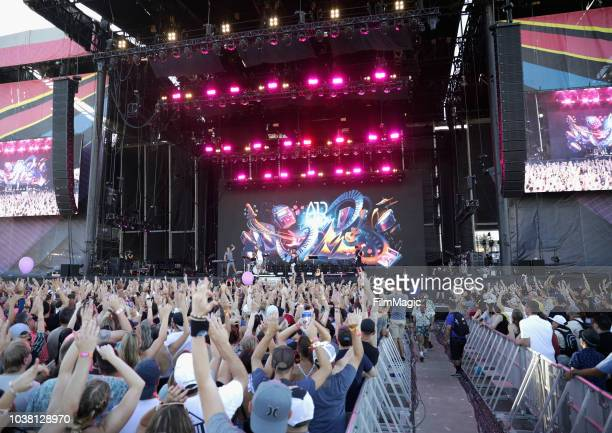 Festivalgoers watch AJR perform on Downtown Stage during the 2018 Life Is Beautiful Festival on September 22 2018 in Las Vegas Nevada
