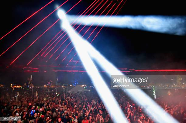 Festivalgoers watch Bassnectar perform on Which Stage during day 2 of the 2018 Bonnaroo Arts And Music Festival on June 8 2018 in Manchester Tennessee