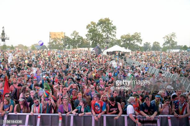 Festivalgoers watch DJ SNBRN perform onstage at The Other Tent during the 2019 Bonnaroo Arts And Music Festival on June 15, 2019 in Manchester,...