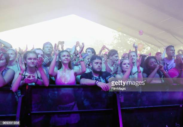 Festivalgoers watch Frenship perform onstage at This Tent during day 1 of the 2018 Bonnaroo Arts And Music Festival on June 7 2018 in Manchester...