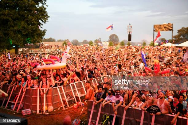 Festivalgoers watch Gryffin perform onstage at The Other Tent during day 4 of the 2018 Bonnaroo Arts And Music Festival on June 10 2018 in Manchester...