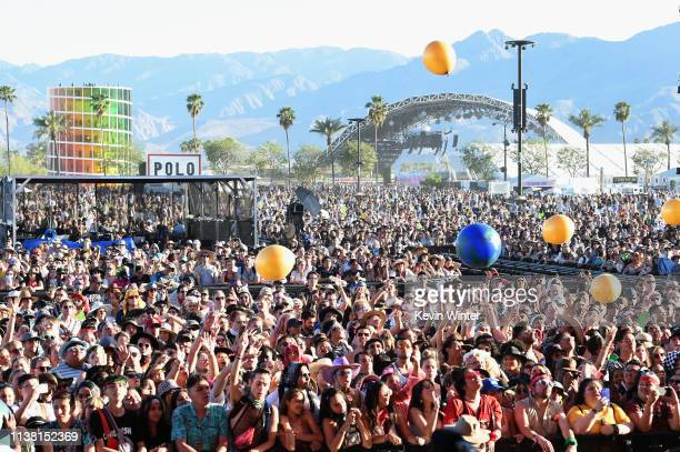 Festivalgoers watch Kacey Musgraves perform at Coachella Stage during the 2019 Coachella Valley Music And Arts Festival on April 19 2019 in Indio...