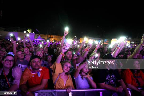 Festivalgoers watch Lizzo perform on Huntridge Stage during the 2018 Life Is Beautiful Festival on September 23 2018 in Las Vegas Nevada