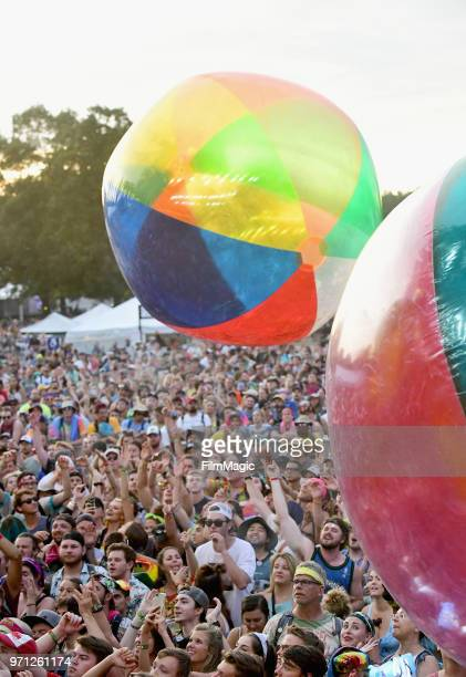 Festivalgoers watch Moon Taxi perform on Which Stage during day 4 of the 2018 Bonnaroo Arts And Music Festival on June 10 2018 in Manchester Tennessee