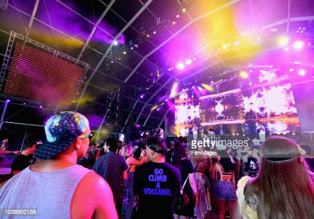 Festivalgoers watch Neil Frances perform on Fremont Stage during the 2018 Life Is Beautiful Festival on September 23 2018 in Las Vegas Nevada