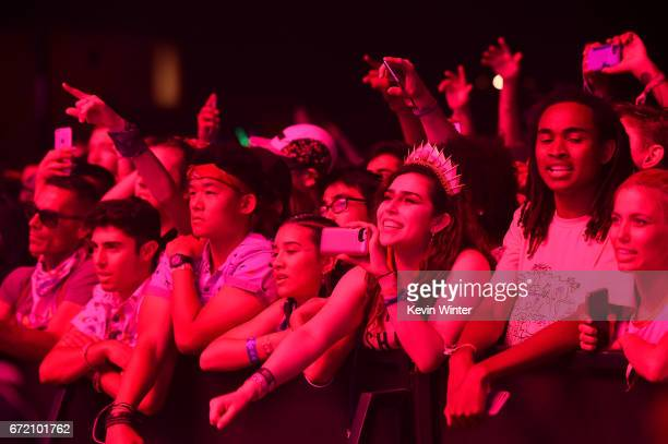 Festivalgoers watch singer Lorde perform on the Coachella Stage during day 3 of the Coachella Valley Music And Arts Festival on April 23 2017 in...