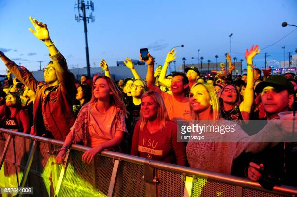 Festivalgoers watch Stick Figure perform on Huntridge Stage during day 2 of the 2017 Life Is Beautiful Festival on September 23 2017 in Las Vegas...