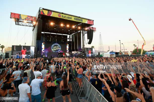 Festivalgoers watch TPain perform on Bacardi Sound of Rum Stage during the 2018 Life Is Beautiful Festival on September 23 2018 in Las Vegas Nevada
