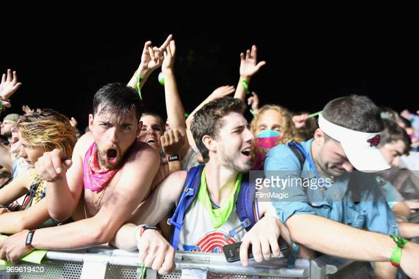Festivalgoers watch Valentino Khan perform onstage at The Other Tent during day 1 of the 2018 Bonnaroo Arts And Music Festival on June 7 2018 in...