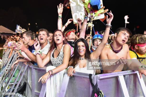 Festivalgoers watch What So Not perform onstage at The Other Tent during day 3 of the 2018 Bonnaroo Arts And Music Festival on June 9 2018 in...