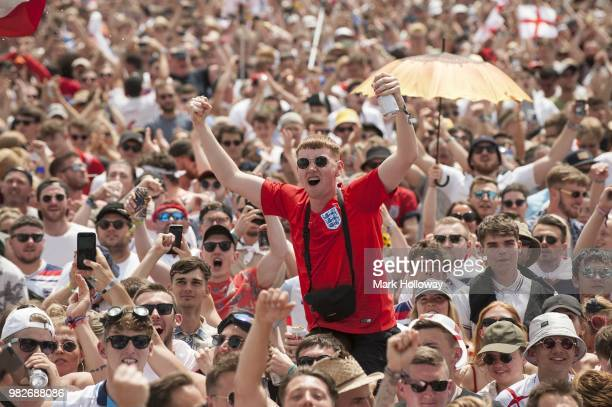 Festivalgoers watching the England V's panama football game at Seaclose Park on June 24 2018 in Newport Isle of Wight