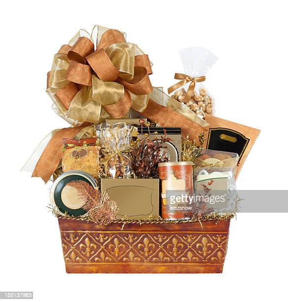 festive autumn gift basket - basket stock photos and pictures