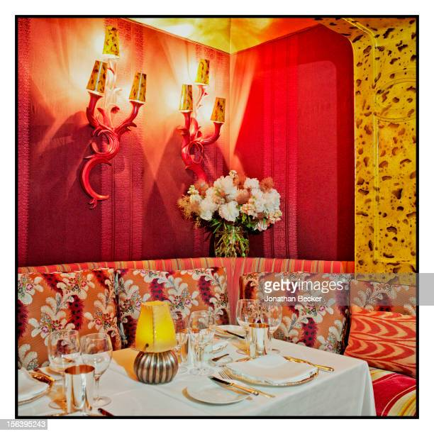 Festive banquette for dining is photographed for Vanity Fair Magazine on June 11, 2012 at 5 Hertford Street, which is home to nightclub Loulou's in...