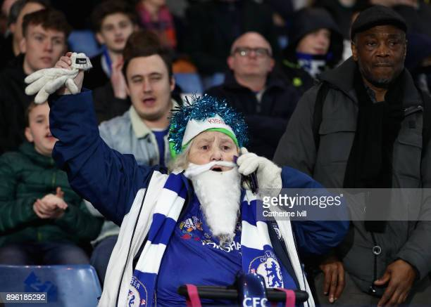 A festive Chelsea fan prior to the Carabao Cup QuarterFinal match between Chelsea and AFC Bournemouth at Stamford Bridge on December 20 2017 in...