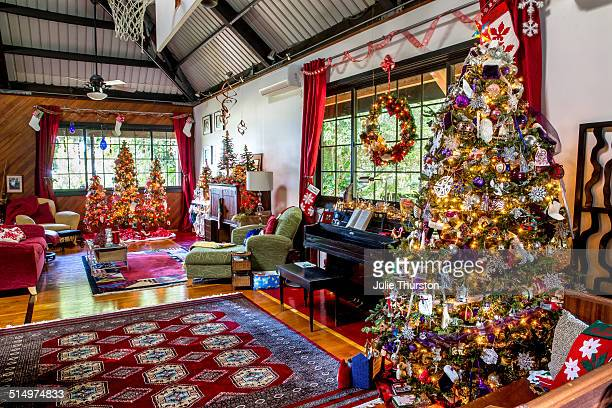 Festive Christmas Holiday Family Room With Trees
