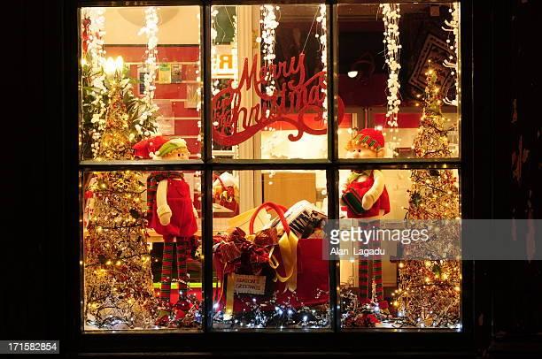 Festive Christmas holiday window display