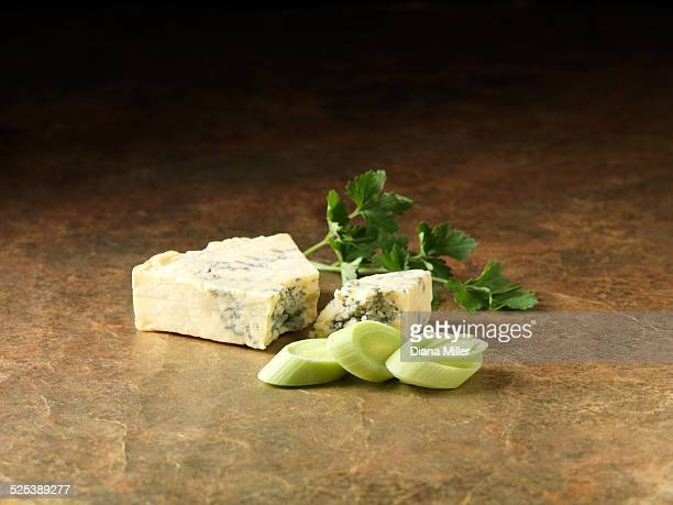 Festive Christmas ingredients of sliced leeks, stilton cheese and coriander for pork and wild mushroom stuffing