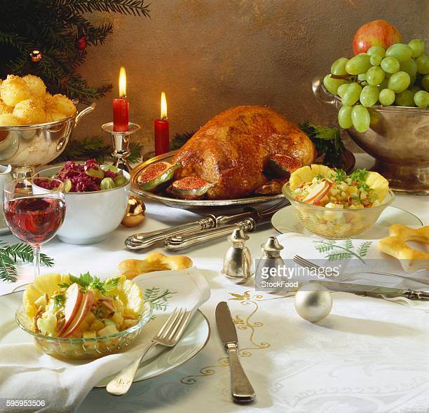 Festive Christmas meal with roast goose