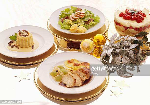 Festive Christmas Meal with Sliced Pheasant Breast